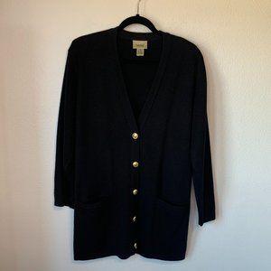 Essential Element Black Wool Blend Button Cardigan